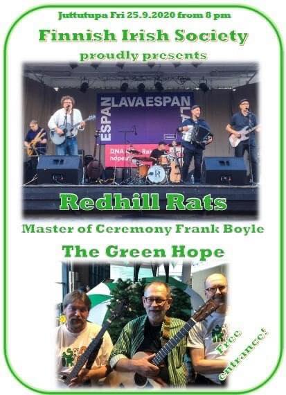 Pe 25.9. Finnish-Irish Society Presents: Redhill Rats, The Green Hope
